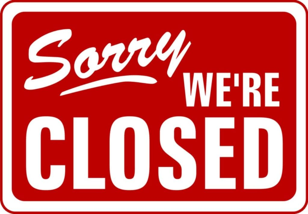 Schild mit Text 'Sorry we're closed'